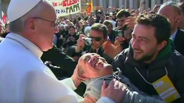 Pope Francis personally greets crowds