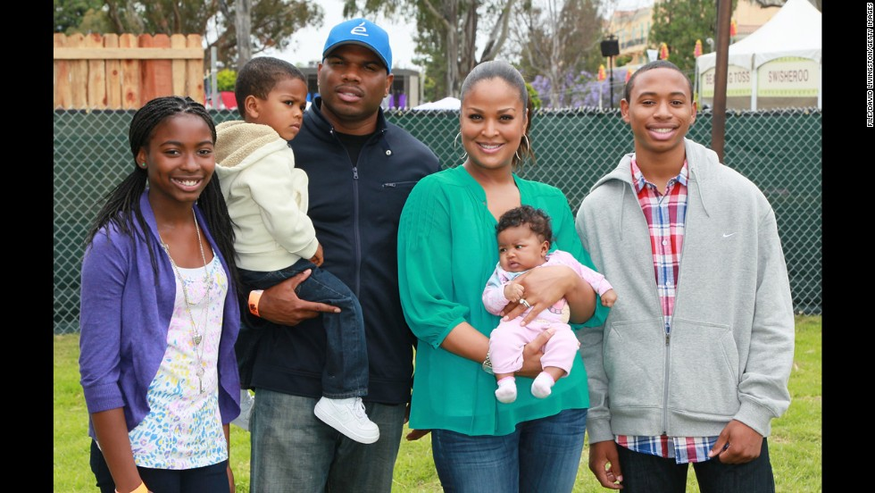 "Former NFL player Curtis Conway and middleweight champion Laila Ali, daughter of the boxing legend Muhammad Ali, <a href=""http://www.people.com/people/article/0,,20047655,00.html"" target=""_blank"">married in 2007</a>. They met two years previously, when Ali went to a small get-together with a friend at Conway's house. Pictured from left, Lelani Conway, Curtis Conway Jr.,Curtis Conway, Laila Ali, Sydney J. Conway and Kelton Conway attend a charity event in Los Angeles, June 2011."