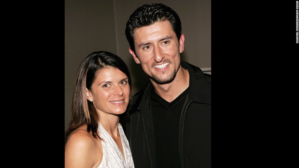 Soccer star Mia Hamm and baseball player Nomar Garciaparra married in 2003 and had twin girls in 2007 together, according to People. Pictured, the pair attend a show premiere, November 2005.