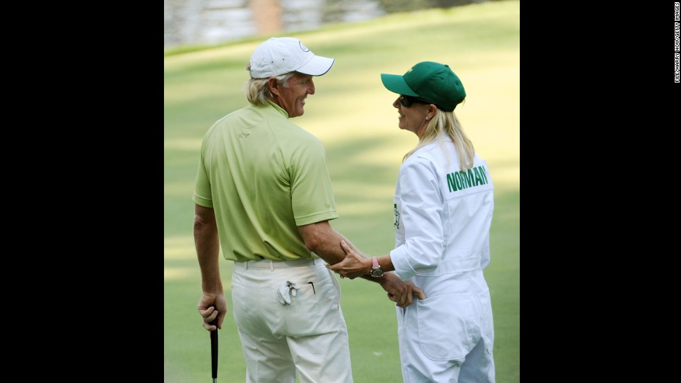 Golfer Greg Norman and tennis pro Chris Evert finalized their divorce in 2010, according to People Magazine. They had been married for 15 months. Pictured, Norman and Evert wait on the ninth green during the Par 3 Contest prior to the 2009 Masters Tournament at Augusta National Golf Club on April 8, 2009, in Augusta, Georgia.