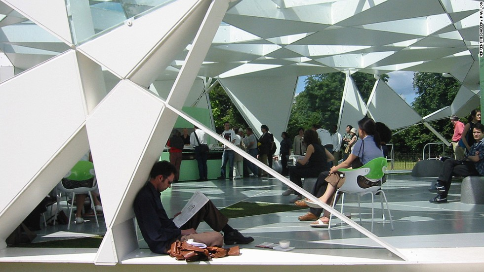 """Ito designed the temporary Serpentine Pavilion Gallery, completed in London's Hyde Park in 2002. The seemingly random pattern is derived from an algorithm of a cube that expands upon rotation. The Evening Standard newspaper called it """"a lesson in imagination."""""""
