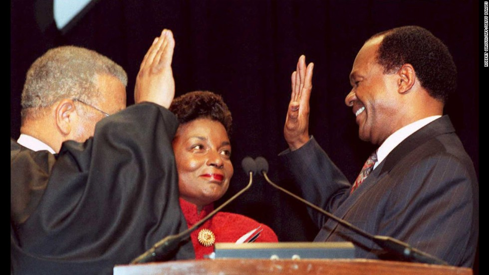 Marion Barry is sworn in as the mayor of Washington with his wife, Cora Masters Barry, at his side, in 1995. Four years earlier, he was forced from the mayor's office, and later imprisoned, for being caught on videotape smoking crack.