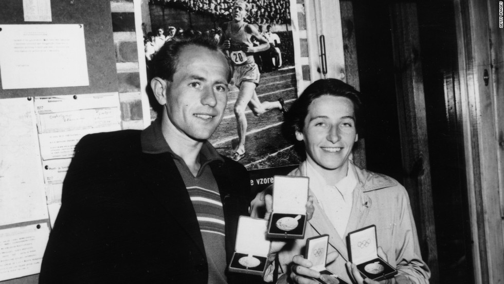 Sharing the same date of birth, legendary long distance runner Emil Zatopek and his wife Dana Zatopkova, a javelin thrower, also won Olympic titles on the very same day - with the couple showing their four gold medals here. Emil passed away in 2000, leaving behind the wife he married 52 years earlier.