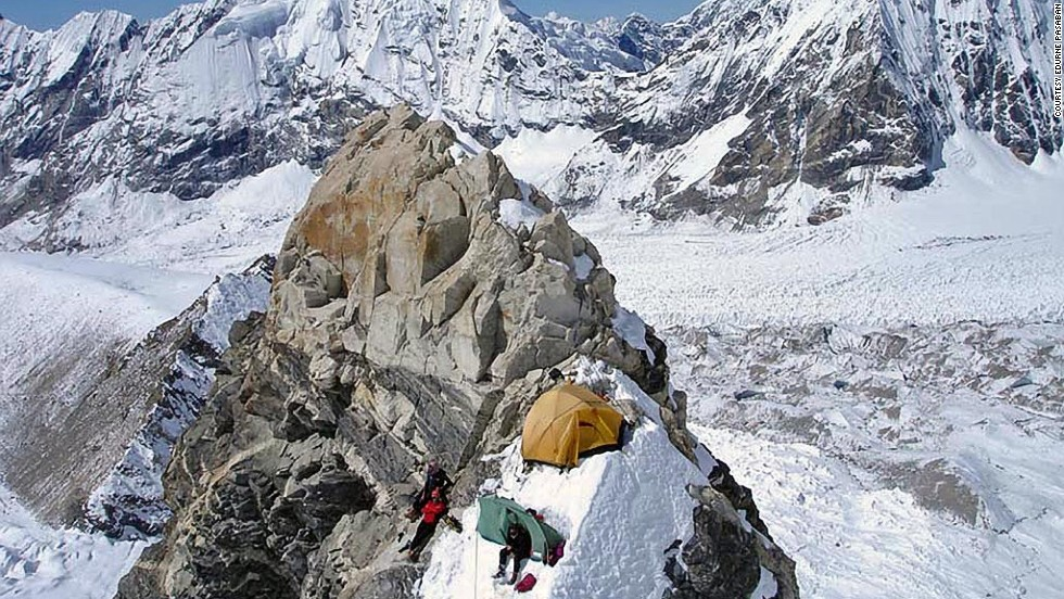 Pasaban camping on a ridge on Shisha Pangma in 2006, during a failed attempt at the mountain. She finally reached the summit on her fifth attempt in 2010, the last of her 14 mountains.<br /><br />Mountaineering is a risky sport, and Pasaban said she has lost 15 friends in her years of climbing. One member of her own team perished on her ascent of Dhaulagiri in the Himalayas in 2001.