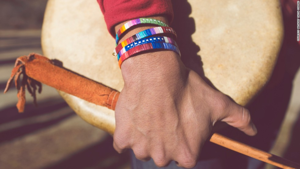 "Porcupine quill bracelets by Lakota Sioux <a href=""http://shop.beyondbuckskin.com/artist/ista-ska-lakota"" target=""_blank"">Ita Ska</a> and Red Sea Hoodie by Tahltan artist and designer <a href=""http://www.edzerzagallery.com/alano-edzerza/"" target=""_blank"">Alano Edzerza</a>."