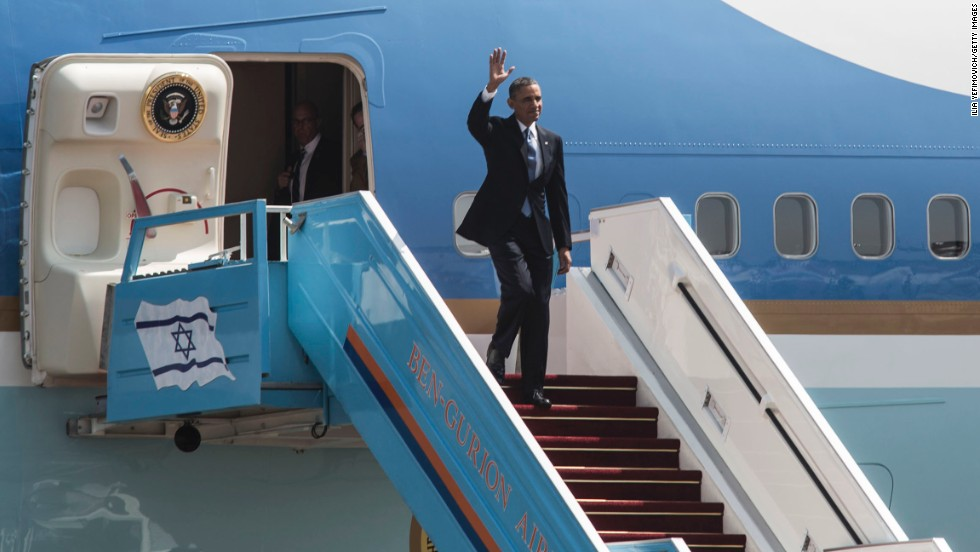 Obama arrives at Ben Gurion Airport near Tel Aviv, Israel, on March 20.