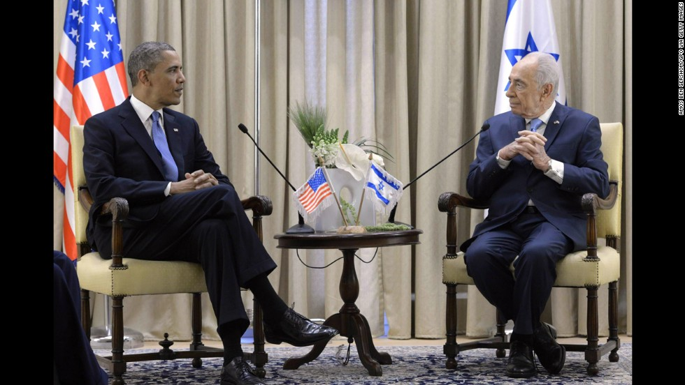 Israeli President Shimon Peres welcomes President Barack Obama to his residence on Wednesday, March 20, in Jerusalem. Obama is making his first trip to Israel as president. It's part of his sweep across the Middle East, which also will include visits to the West Bank and Jordan.