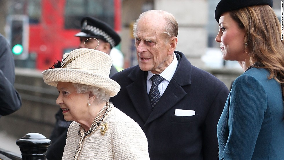 Queen Elizabeth ll, Prince Philip, Duke of Edinburgh, and Catherine, Duchess of Cambridge make an official visit to Baker Street Underground Station on March 20 in London, England.