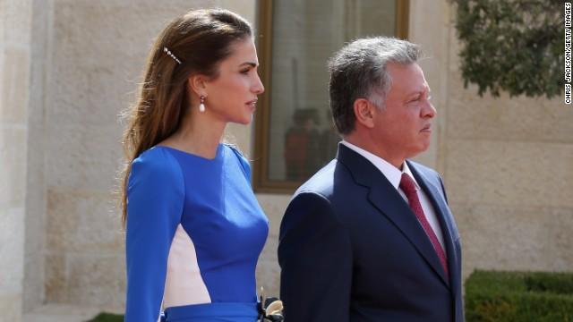 King Abdullah of Jordan and Queen Rania arrive at the Royal Palace on March 12, 2013 in Amman, Jordan.