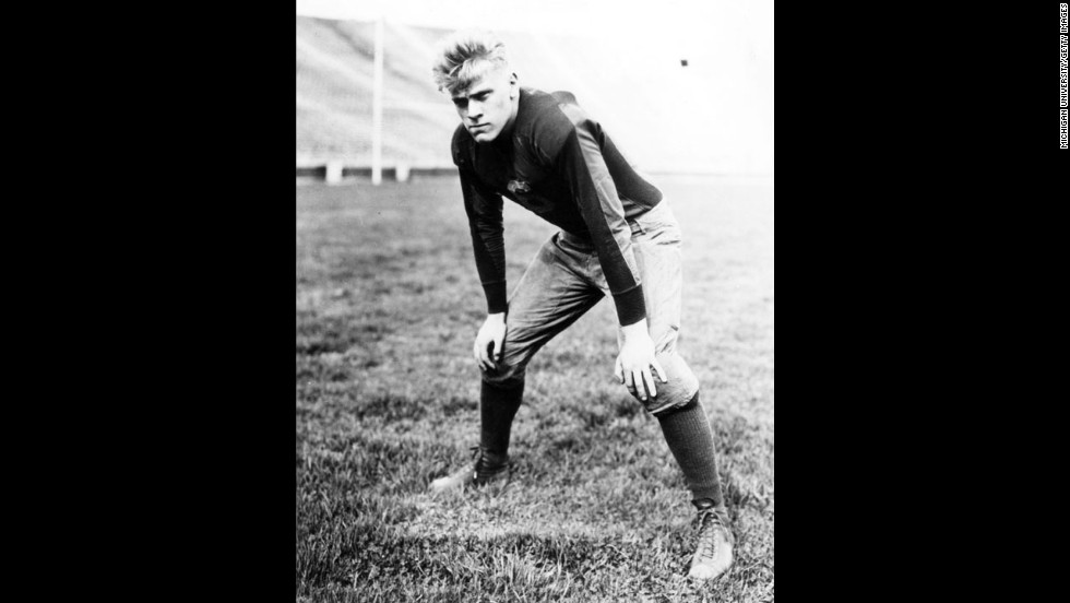 President Gerald Ford was the star of his University of Michigan football team, playing center as well as linebacker. Ford won national titles with the Wolverines in 1932 and 1933 after finishing undefeated seasons. Ford was also a fervent golfer, recording a hole in one at a professional-amateur tournament in 1977.