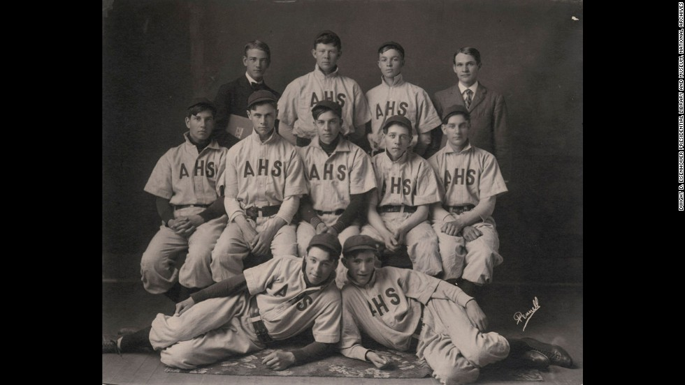 After failing to make the baseball team at West Point, President Dwight Eisenhower (shown in high school, back row, second from right), joined the football team, on which he started as a running back and linebacker before he injured his knee and was forced to quit the team.