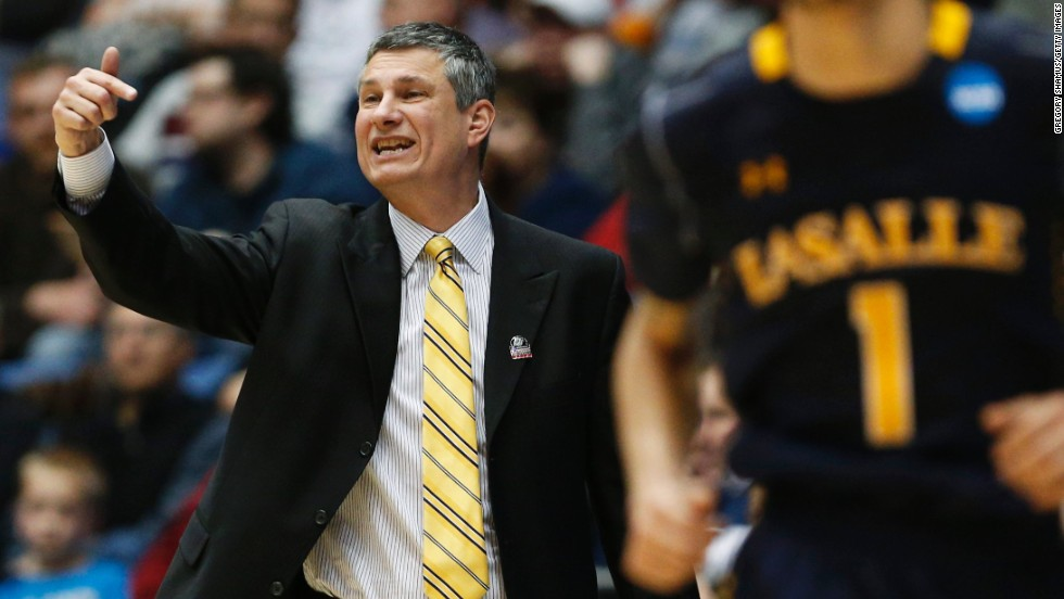 La Salle head coach Dr. John Giannini shouts from the sidelines during the First Four round game against Boise State on March 20.