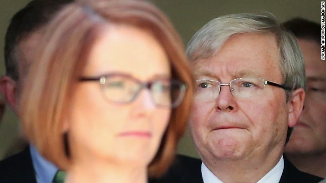 Kevin Rudd (right) has declined to challenge Prime Minister Julia Gillard (left) for the Australian leadership.
