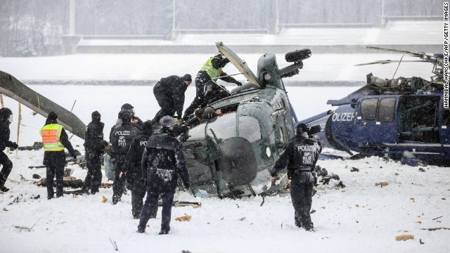 Two police helicopters crashed near the Olympic stadium in Berlin after a training exercise Thursday.