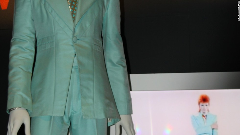 "Bowie wore this ice blue suit by Freddie Burretti for the 1972 ""Life on Mars"" promotional film with Japanese eyeshadow applied by make-up artist Pierre Laroche. ""For weeks my stage persona went all geisha,"" the singer said."