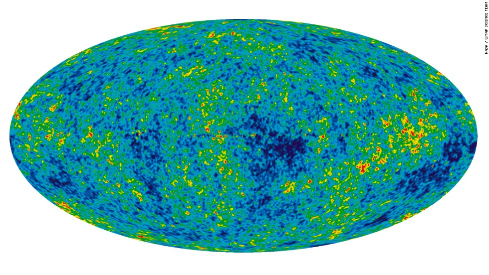 This all-sky picture of the infant universe was created from nine years of WMAP data. It reveals 13.77 billion-year-old temperature fluctuations (shown as color differences) that correspond to the seeds that grew to become the galaxies. Planck puts the age of the universe as 100 million years older than previous estimates.