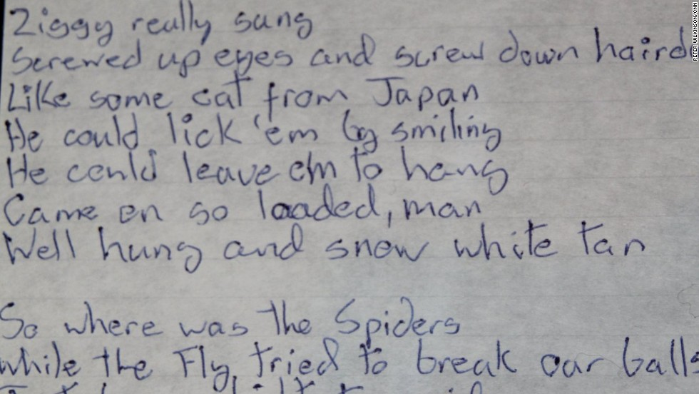"""These lyrics for """"Ziggy Stardust"""" introduce Bowie's most famous character to the world. He explained why he enjoyed performing as his creation: """"Offstage I'm a robot. Onstage I achieve emotion. It's probably why I prefer dressing up as Ziggy to being David."""" But the role threatened to overwhelm him: """"My whole personality was affected. It became very dangerous. I really did have doubts about my sanity."""""""