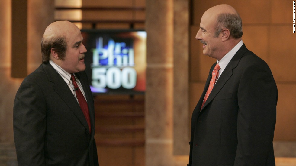 Leno makes a surprise appearance on Dr. Phil's 500th show on April 22, 2005.