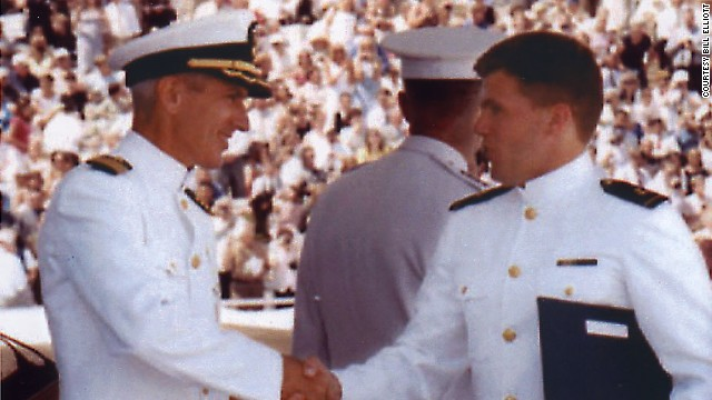 John Elliott receives his diploma from the United States Naval Academy.