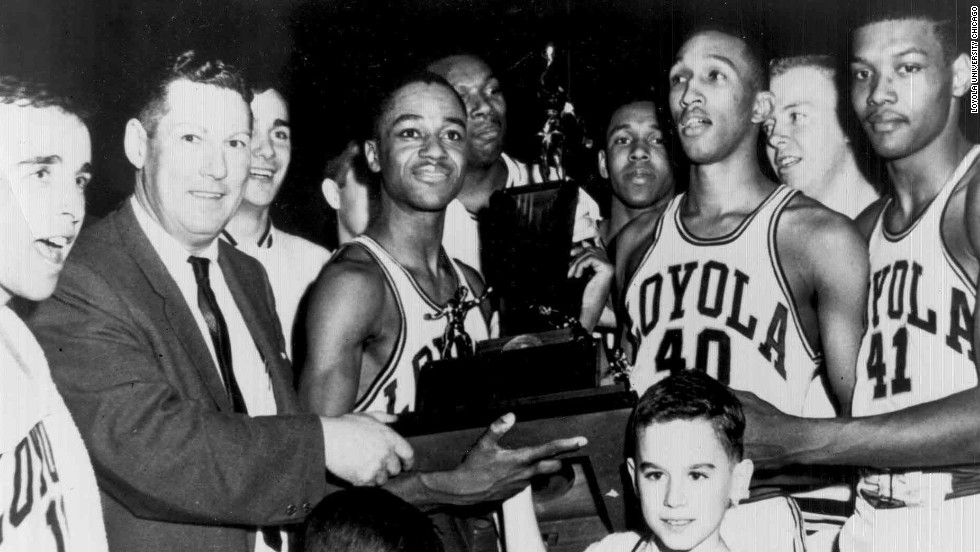 Saturday marks the 50th anniversary of Loyola University Chicago winning the 1963 NCAA Men's Division I Basketball Tournament. The tournament involved 25 schools over the course of 29 games and ended March 23. The Loyola Ramblers won the national title with a 60-58 victory over the Cincinnati Bearcats. Here, the 1963 team is pictured with its trophy.