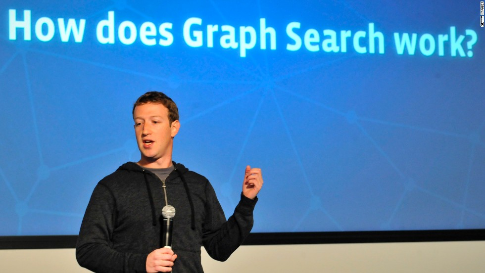 Zuckerberg spoke in January at the unveiling of Facebook Graph Search, a tool that lets users search the massive social network for everything from dates to restaurant recommendations. It rolled out to all users in the U.S. later in the year.