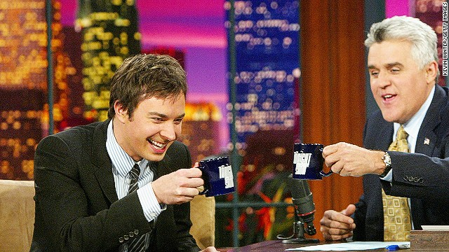 Jimmy Fallon, left, appears on 'The Tonight Show with Jay Leno' in September 2004.