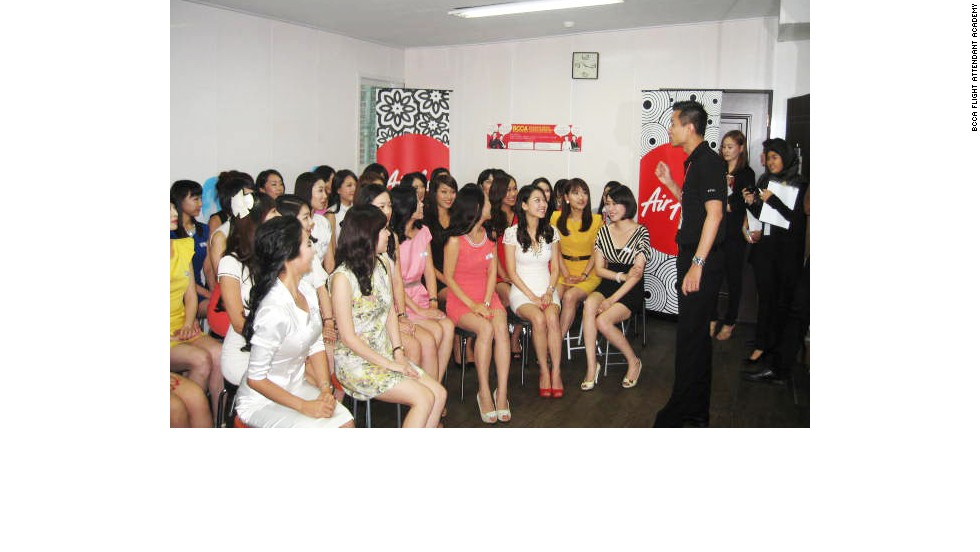 Korean flight attendant academy students attend an AirAsia cabin crew interview in Seoul.