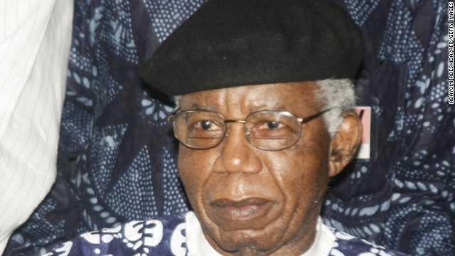 Nigerian writer, 70, Chinua Achebe is pictured on January 19, 2009 during a welcoming ceremony at Nnamdi Azikiwe International Airport in Abuja.
