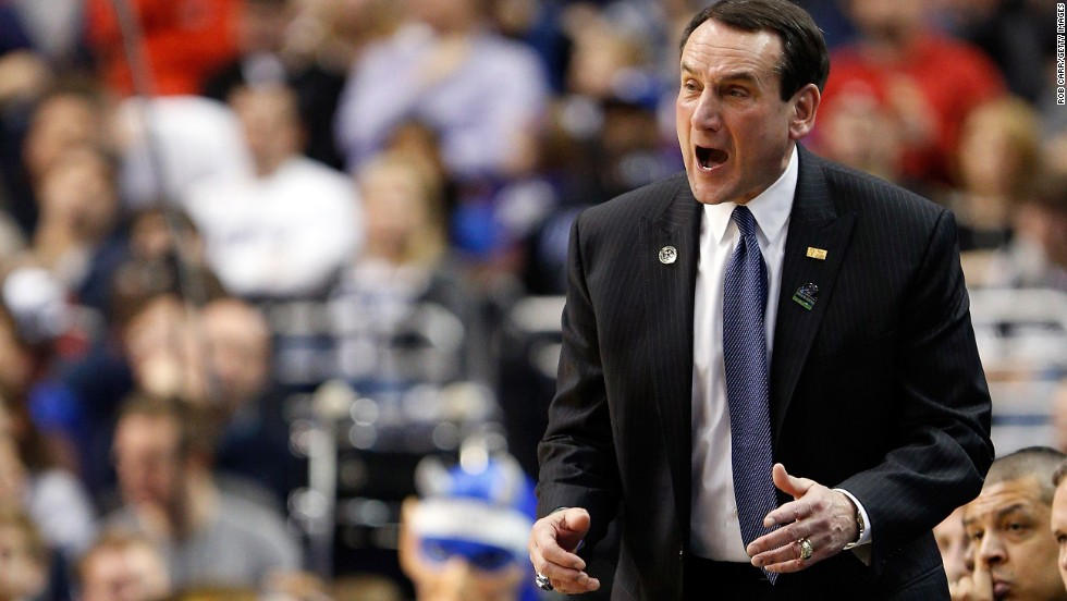 Head coach Mike Krzyzewski of the Duke Blue Devils calls out in the first half against the Albany Great Danes on March 22 in Philadelphia.