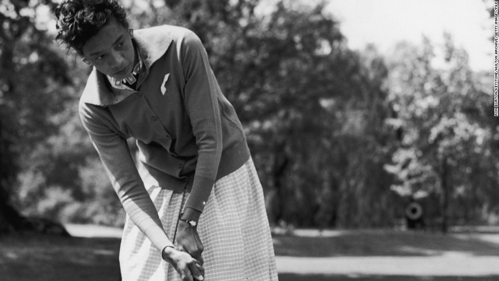 Pioneering tennis player Althea Gibson followed in the footsteps of boxer Joe Louis when she became the first black woman to play on the LPGA Tour in the U.S. in 1964. Louis was the first black man to play on the PGA Tour 12 years earlier. Gibson won 11 grand slam singles and doubles titles on the court, but her best finish as a golf pro was a tie for second at an LPGA event in Ohio in 1970.