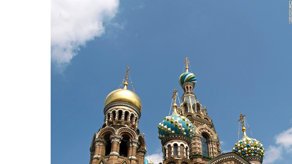 The Church on Spilled Blood, also known as the Cathedral of the Resurrection of Christ, was built on the spot where Czar Alexander II was fatally wounded in an assassination attempt in 1881. After the Bolshevik Revolution the church fell into disrepair. After more than half a century of neglect, the church was restored and re-opened in 1997.