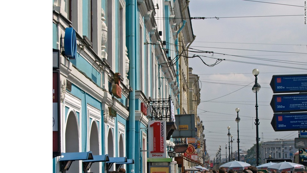 Crowds wander along the city's grand boulevard, Nevsky Prospekt. Here are found shopping and nightlife, fashionable apartments, the baroque Stroganov Palace, Kazan Cathedral, five metro stations and four bridges, the most famous being the Anichkov Bridge across the Fontanka River.