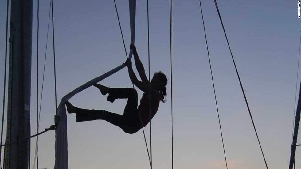 """In the romantic show, called <em>Between Wing and Island</em>, there's an orange-pinkish light behind them while they're doing this beautiful ballet in the rigging,"" Elliott Bay Marina manager, Dwight Jones, said."