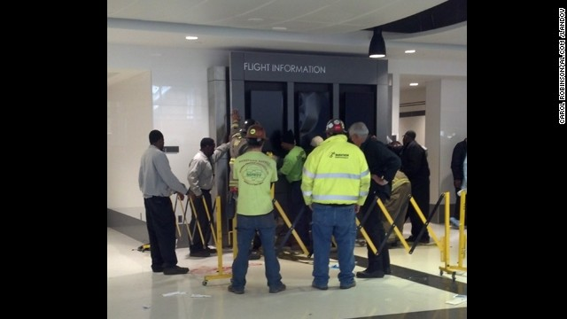 Display board collapses at airport