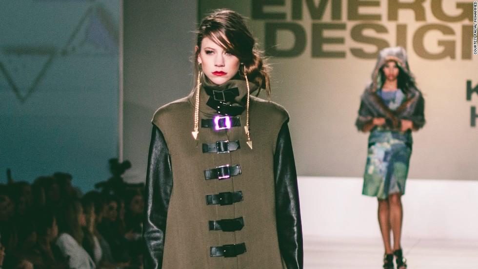 Models show off the collection of emerging designer semifinalist Karen Hulse on Thursday.