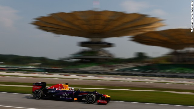 Red Bull's Sebastian Vettel will start on pole position at Sunday's Malaysian Grand Prix.