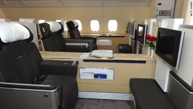 Lufthansa's first class: retractable walls between seats can separate passengers.