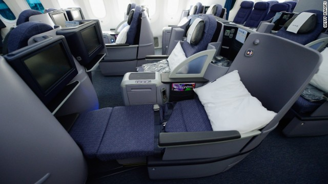 Sort of elite? Business First Class seats on the United Airlines Boeing 787 Dreamliner.