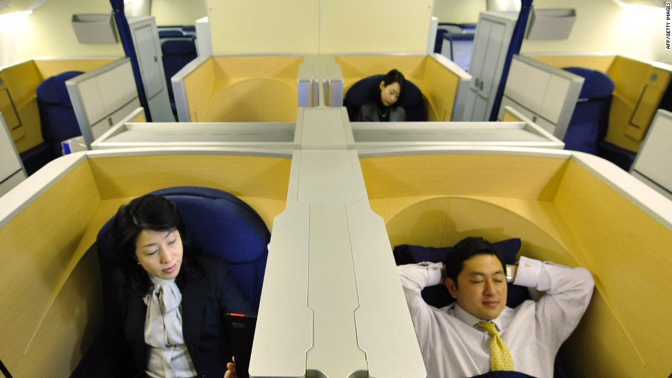 First class seats on Japan's Nippon Airways provide closed off spaces for undisturbed relaxation. The airline took sixth place in this year's awards.