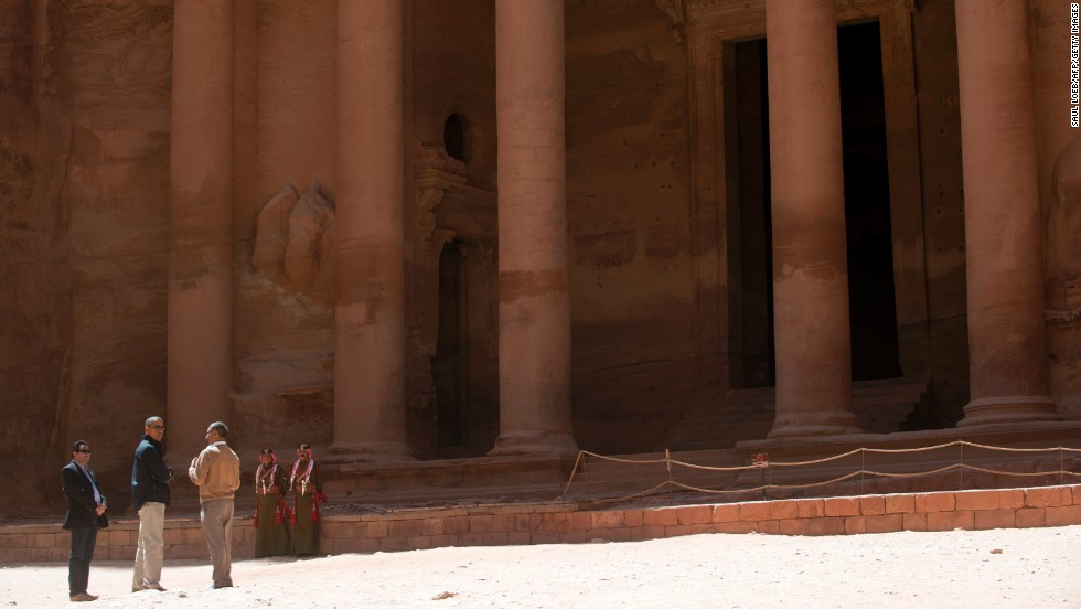 Obama and his escorts stand outside the Treasury, or Al Khazneh, in Petra on March 23. The magnificent building, carved out of solid rock, is more than 2,000 years old.