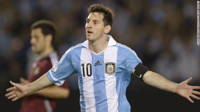 Lionel Messi was on target as Argentina defeated Venezuela 3-0 in Buenos Aires.
