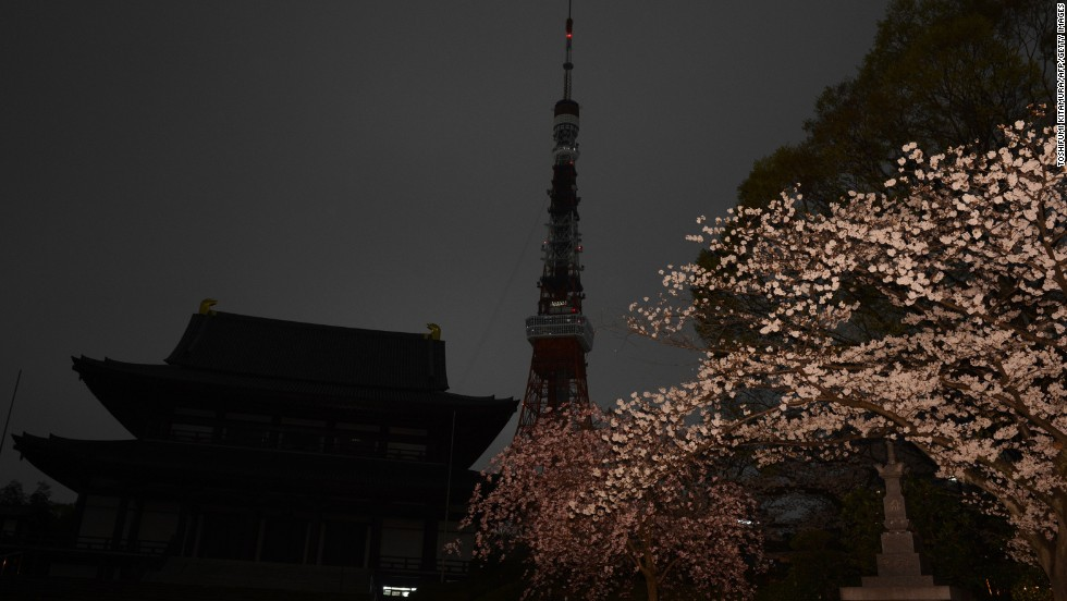 TheTokyo Tower with lights turned off during Earth Hour.
