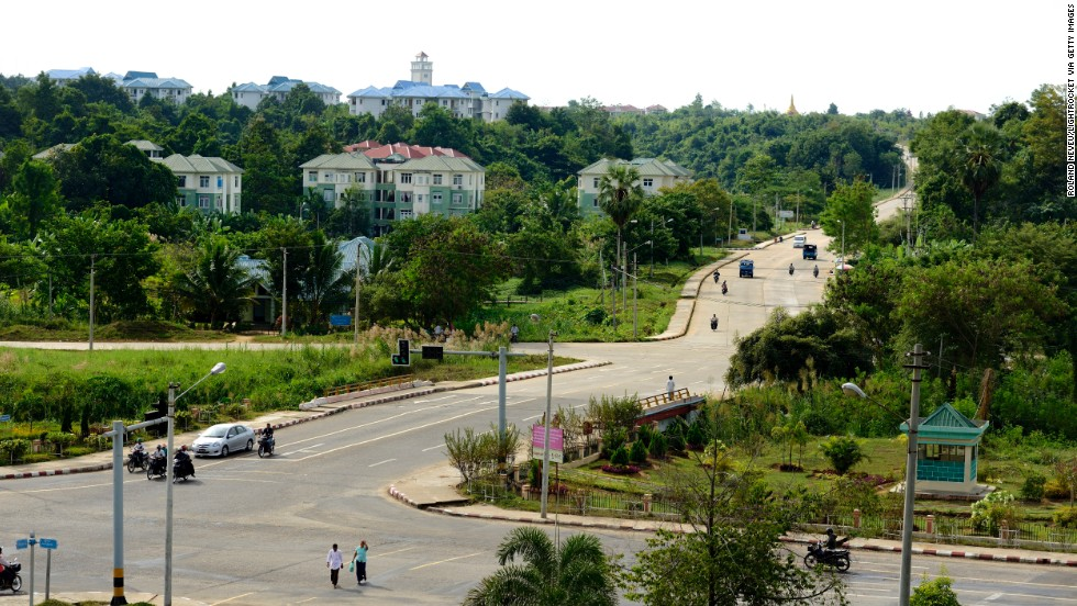 Light traffic moves through the capital, Naypyidaw.