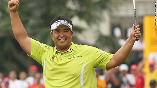 Thai golfer Kiradech Aphibarnrat celebrates after winning the Malaysian Open at Kuala Lumpur Golf & Country Club on Sunday.