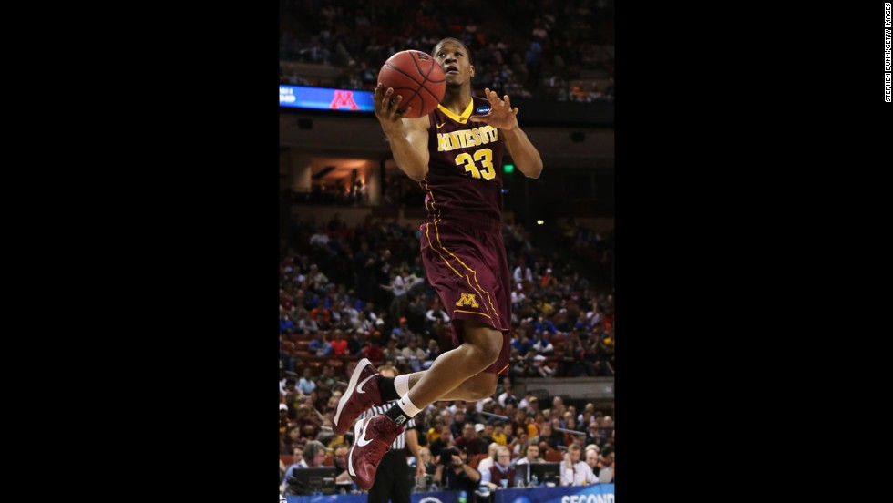 Rodney Williams of Minnesota goes up for a shot on March 24.