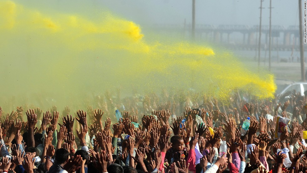 Colored powder billows over the crowd during the Kumbh Mela festival in Allahabad, India, on March 9. A record 120 million pilgrims took a dip in the Sangam -- the confluence of the Yamuna, Ganges and mythical Saraswati rivers -- to symbolically wash off their sins during the two-month-long festival that ended March 10.
