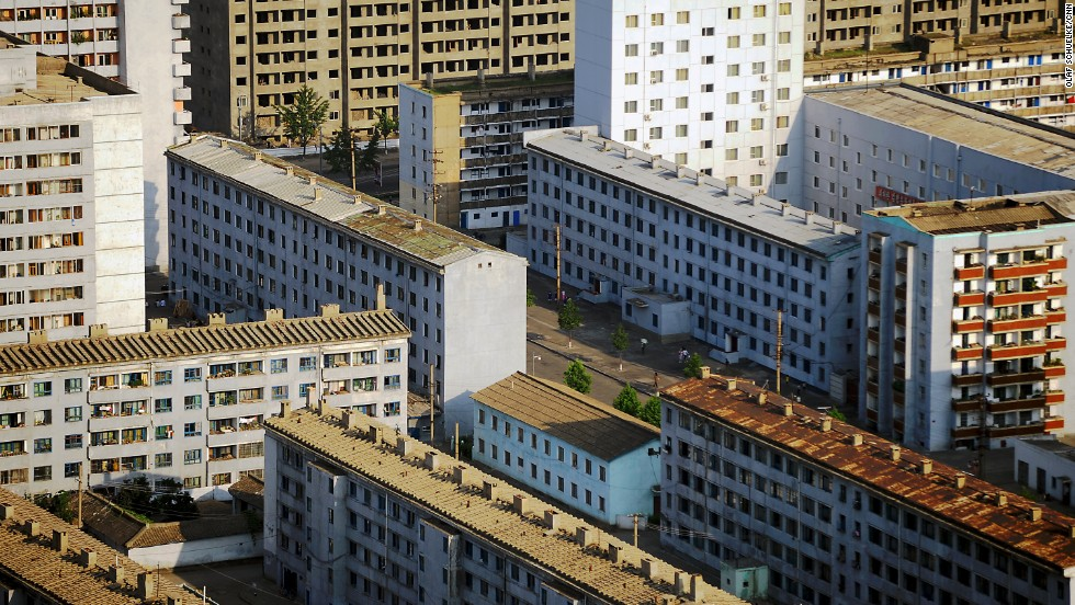An aerial view of part of Pyongyang. I found North Korean architecture to be simple and unremarkable. The majority of buildings are residential houses of a few stories. After dusk, much of the city is hidden in the dark, adding to the feeling of it being something of a ghost town.