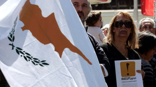 Demonstrators against the EU bailout pamphlet during a student parade in March  in Nicosia,