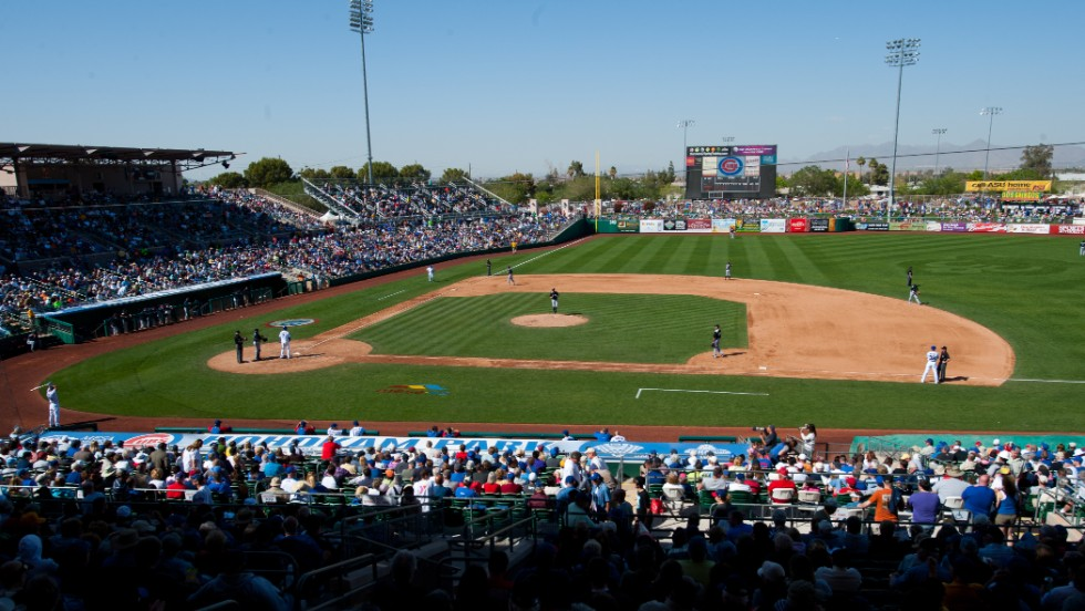The smaller spring training stadium gives fans a close-up view of the action.