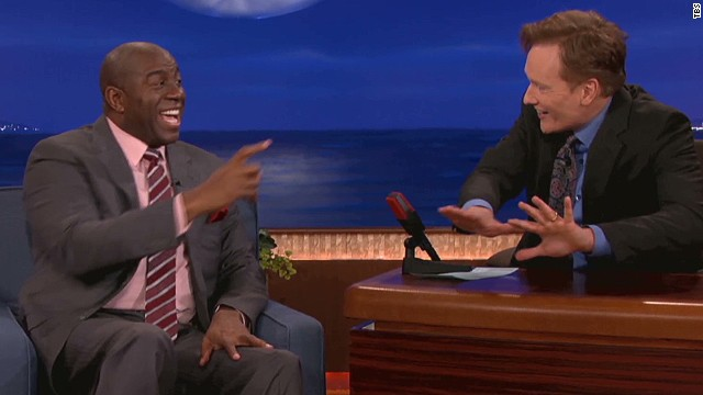 Magic Johnson was one of Conan O'Brien's guests on his March 25 show.